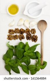 Ingredients for walnut-basil pesto