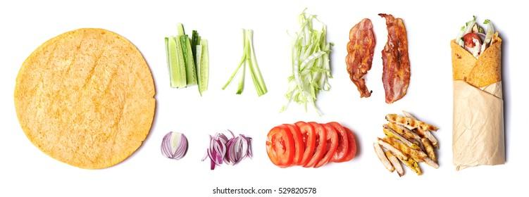 ингредиенты для обернутого сэндвича, изолированного на белом фоне. Вид сверху