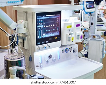 Inhalation anaesthetic machine with monitor
