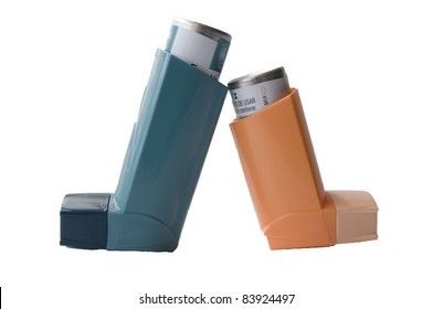 Inhaler with a drug on a white background