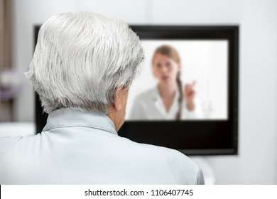 In-home care for an elderly patient with telemedicine or telehealth, virtual live chat on the monitor
