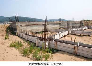 initial phase of construction - formwork for foundation. abandoned construction object