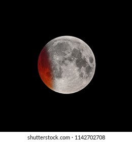 Initial phase of Super Bloody Moon full eclipse