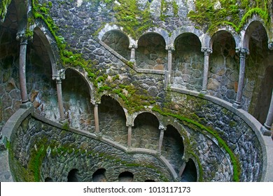 Initiation Well in the 'Quinta da Regaleira' Park in Sintra on the outskirts of Lisbon