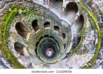 Initiation well of Quinta da Regaleira park in Sintra, Portugal.