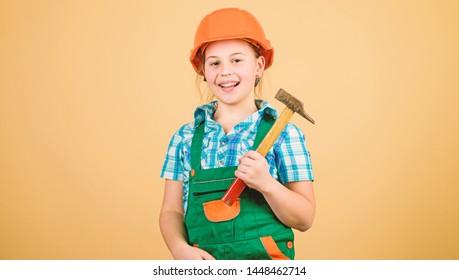 Initiative child girl hard hat helmet builder worker. Tools to improve yourself. Child care development. Future profession. Builder engineer architect. Kid builder girl. Build your future yourself.