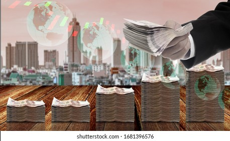 Injection money to economy concept, Politician offer distribute money policy with graphs and city background