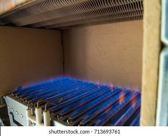 Injector burner, blue fuel, gas boiler