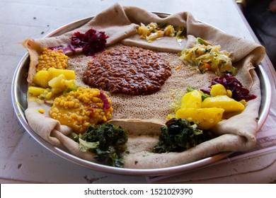 Injera firfir, flatbread, typical Ethiopian fasting food