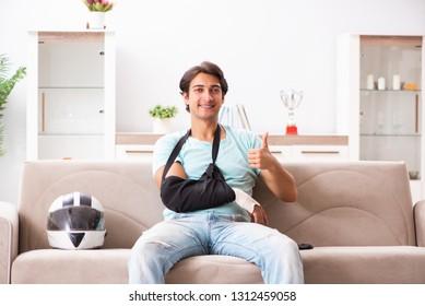 Injured motorbike rider recovering at home