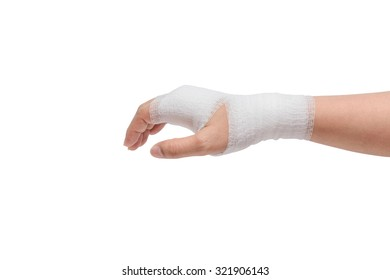 Injured painful hand with white gauze bandage. isolated on white background with clipping path