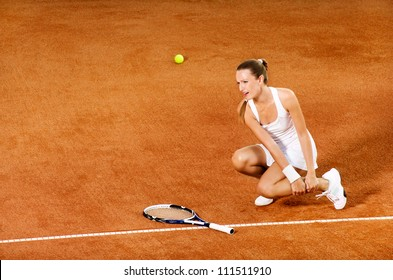 Injured tennis female player crying from pain