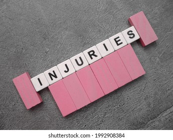 Injuries, word from alphabeth with background.