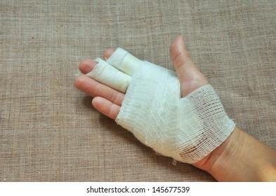 injury hand with bandage