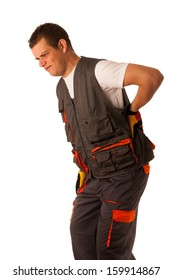 Injury on work - construction worker suffering hard pain in his back