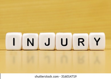 INJURY word on blocks
