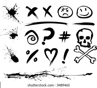 Ink Blotches and Symbols (also available in vector)
