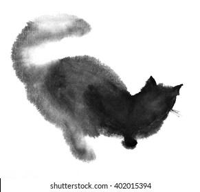 INK of cat in chinese style. Cute cat on white background
