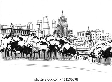 Ink drawing of skyscrapers in Moscow - the Ministry of foreign Affairs and Moscow city