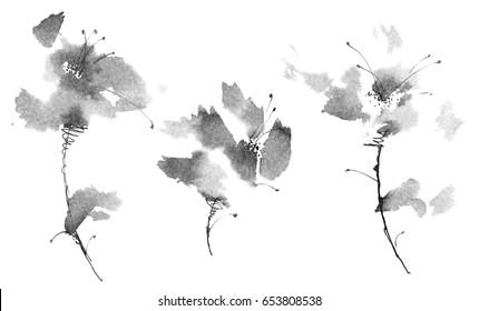 Ink illustration of flowers. Sumi-e, u-sin painting.