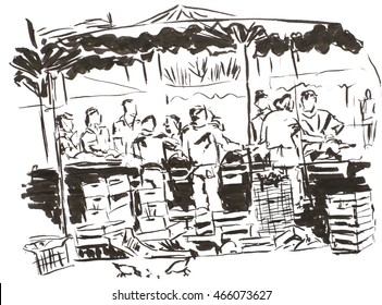 Ink illustration, street market