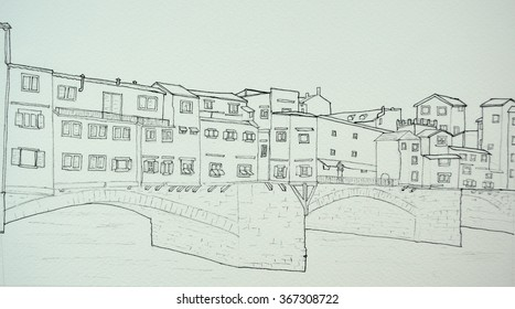 Ink line drawing of the Ponte Vecchio Florence Italy