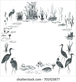 Ink painted frame. Marsh plants, herons. Round border or card template with birds standing in the water, waterlilies, stork, grass, leaves. Black, grey hand drawn figures on white background.