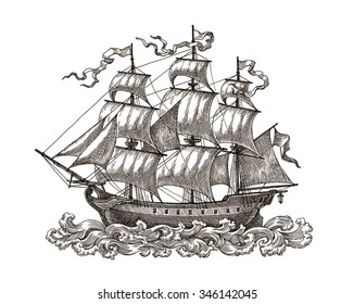 Ink and pen drawing, ancient sail ship, on white background.