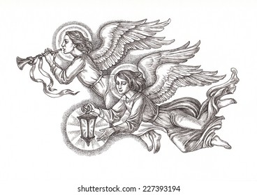 Ink and pen hand drawing, flying angels with lantern, illustration.