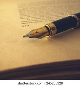 ink pen on old paper