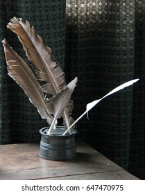 An Ink Pot Holding Vintage Feather Quill Pens.