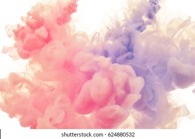 Ink splashes in the water. Abstract background for your design.