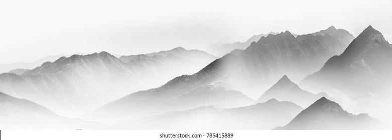 Blæk og vask bjerge og floder