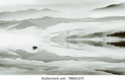 Ink and wash mountains and rivers