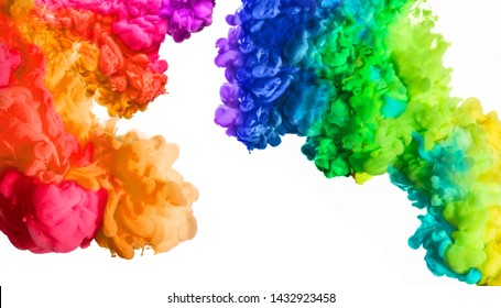 Ink in water isolated on white background. Rainbow of colors. Colors explosion. Colours festival.