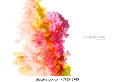 Ink in water isolated on white background. Rainbow of colors