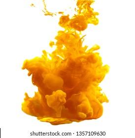 Ink in water. Yellow ink splash