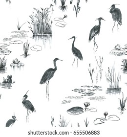 Ink, watercolor herons, nenuphar flowers, foliage, reeds. Seamless pattern with grey, black elements on white background. Standing birds, wetland plants arranged to slanting strips.