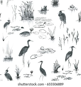 Ink, watercolor herons, nenuphar flowers, foliage, reeds. Seamless pattern on white background like lake or pond landscape. Birds standing in the water among the leaves of water lilies, herbs shrubs.