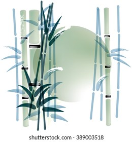 Ink or watercolor painted bamboo background