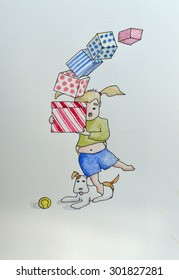 Ink and Watercolour cartoon of little girl tripping holding birthday presents