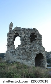 INKERMAN, REPUBLIC OF CRIMEA / RUSSIA - SEPTEMBER 18 2018: Ruines of the Kalamita fortress, a medieval Byzantine fortress on a strategic cliff at Crimea