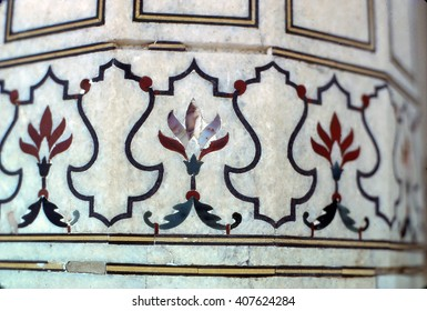 Inlaid marble column, Red Fort, Agra India , Asia