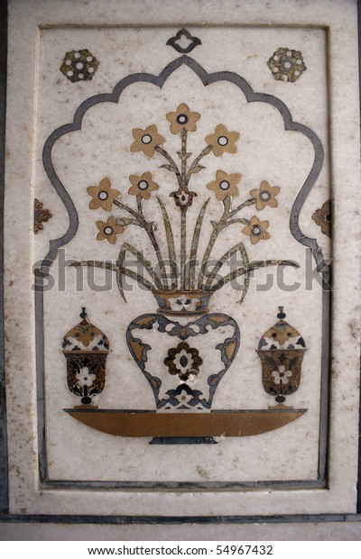 "Inlaid in white marble and colored stone at Mausoleum of Itimad-ud-Daula (""Baby"" Taj) in Agra"