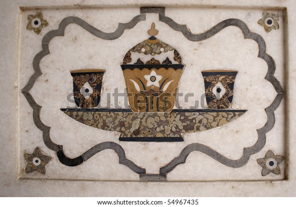 """Inlaid in white marble and colored stone at Mausoleum of Itimad-ud-Daula (""""Baby"""" Taj) in Agra"""