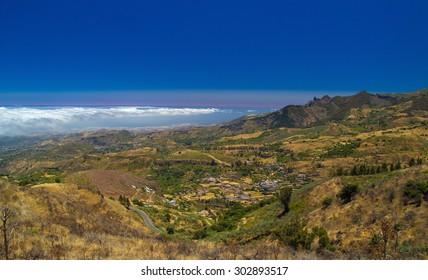 Inland Central Gran Canaria, Las Cumbres, the highest areas of the islands, view over valley Barranco de Las Lagunetas
