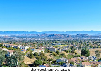 Inland Empire Southern California on clear spring morning with no smog