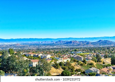 Inland Empire Southern California on clear spring morning looking east
