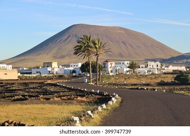 In the inland of Lanzarote, Canary Islands, Spain, near San Bartolome and La Geria. A village in early morning light.