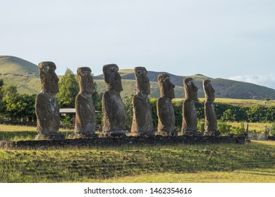 The inland moais of Ahu Akivi, these moais face towards the sea. Easter Island, Chile